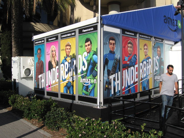 Graphics now adorn Amazon's Thunderbirds Are Go pavilion.