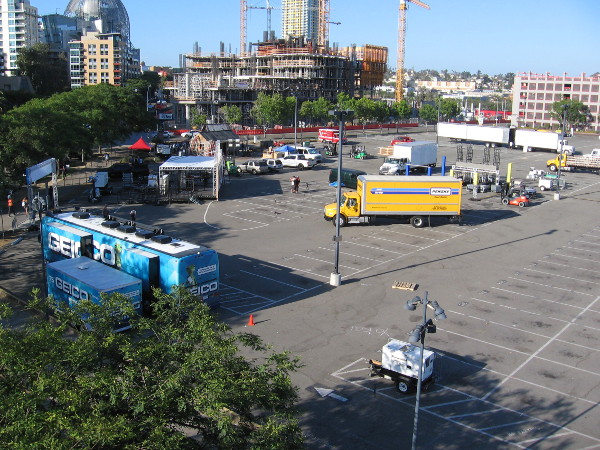 Not much has been set up yet in the parking lot just east of Petco Park. They've got one day to go! Better hurry up!
