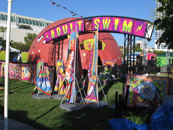 The entrance to Adult Swim's outdoor venue looks exactly like last year, if my memory is to be trusted.