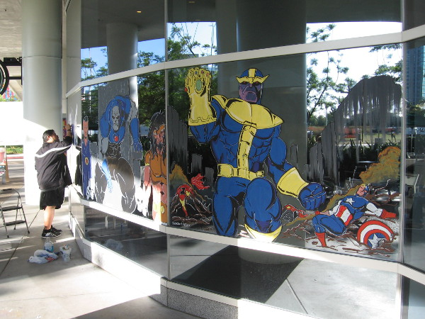 Finally, some fun comic book art has been painted on the windows of the Hilton's Starbucks. A huge Thanos has smashed Captain America! Uh, oh!