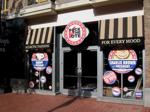In the Gaslamp Quarter, Rock The Vote is encouraging people to register. Who would you prefer for president--Snoopy or Charlie Brown?