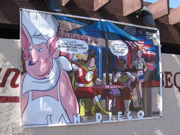Perhaps real superheroes will eat this week at Kansas City Barbeque, where scenes from the movie Top Gun were filmed.