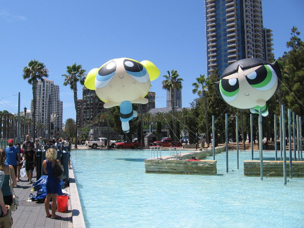Two of the Powerpuff Girls were hovering mid-afternoon above the water at Children's Park.