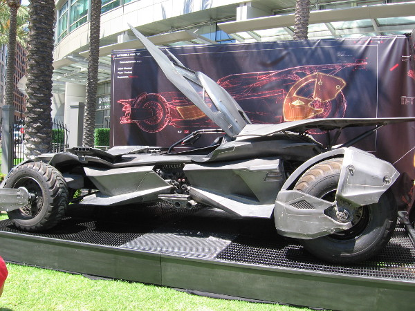 Here's another look at the Batmobile on display near the Omni Hotel. It's one of several that were used in the filming of Batman v Superman Dawn of Justice.