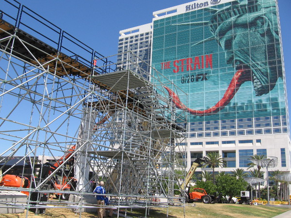 A huge stage is being built in the park behind the San Diego Convention Center, right in front of the Bayfront Hilton.