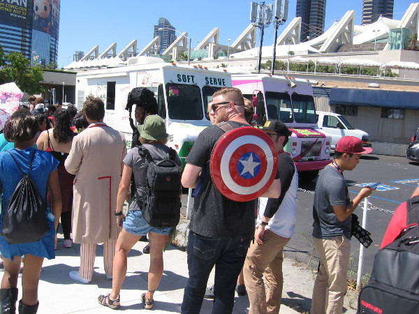 Not much cosplay spotted today, but I did catch a guy with Captain America's shield waiting in line for some soft serve ice cream!