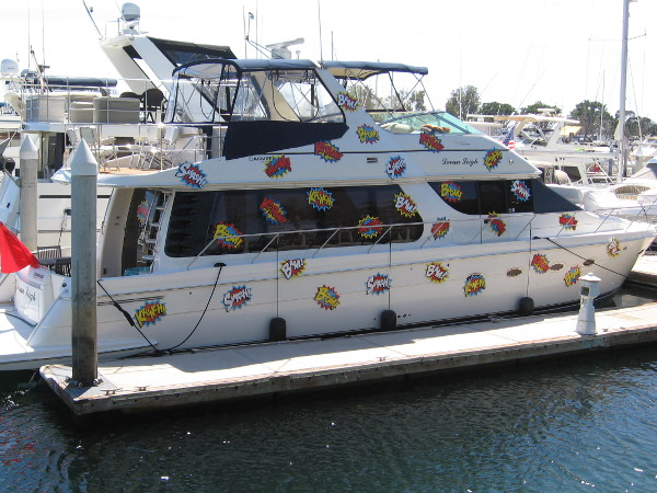 I assume this is just some boat owner having fun. I took this photo walking along the Marriott Marina.