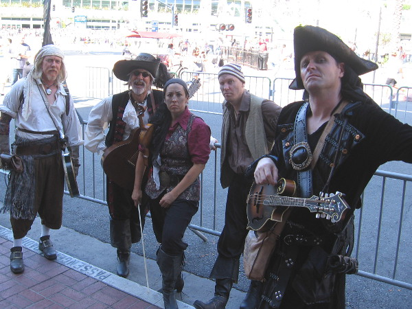 These tough-looking pirates are promoting Sea of Thieves, an upcoming video game for the Xbox.