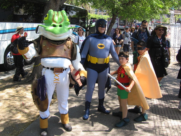 No worries! Batman is nearby! So are a couple of Robins. And so is Glenn the Frog from the old video game Chrono Trigger.