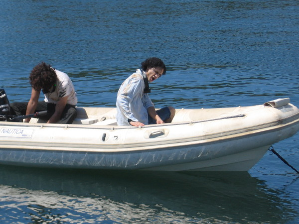 Hopefully zombies can't swim. Because a couple somehow found themselves in this small boat in San Diego Bay.