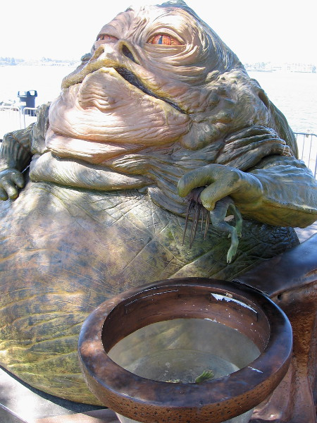 It's lunch time for Jabba the Hutt. Looks to me like he needs to go on a diet.