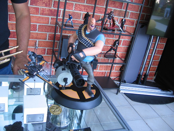 A collectible figurine of Heavy, from Team Fortress 2, on display at Comic-Con HQ.