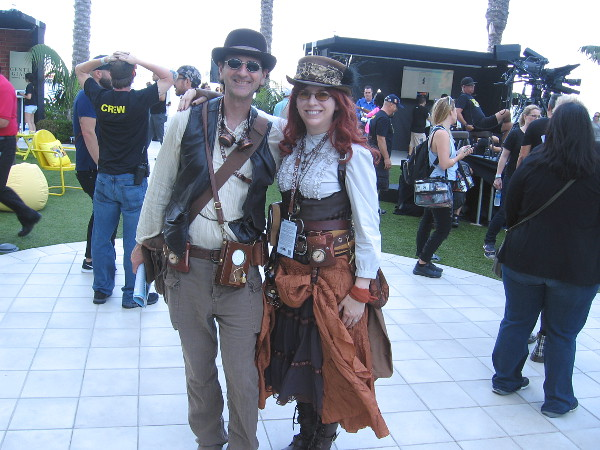 These guys walking through the Comic-Con HQ area were in steampunk costumes--no particular character.
