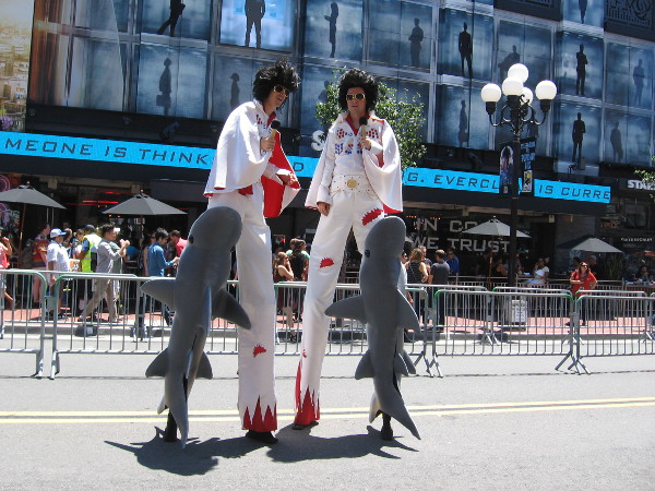 Last year it was Uncle Sams on stilts. In 2016, it's a bunch of Elvises. Or is that Elvi? Those sharks seem unstoppable.