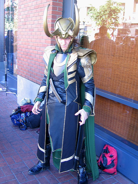An elaborate cosplay of Loki, a favorite Marvel supervillain.