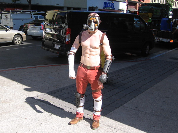 This guy informed me his cosplay is the Borderlands character Krieg the Psycho.