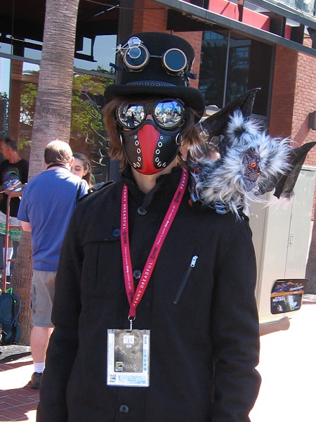 This guy just decided to invent a cool character with creepy steampunk elements for Comic-Con.