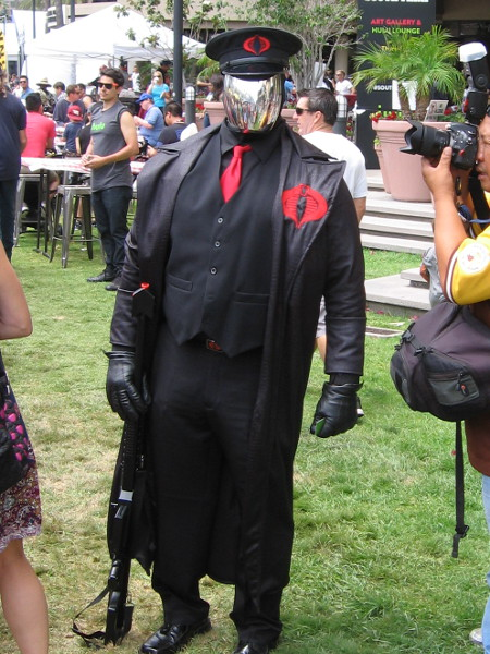 Menacing cosplay of Cobra Commander.