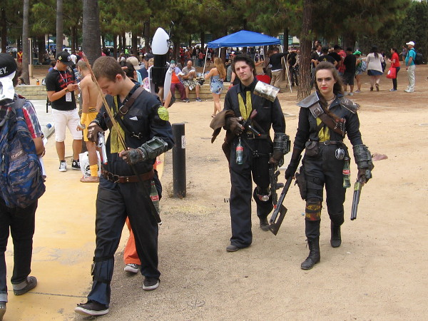 I learned these guys are cosplaying characters from the video game Fallout.