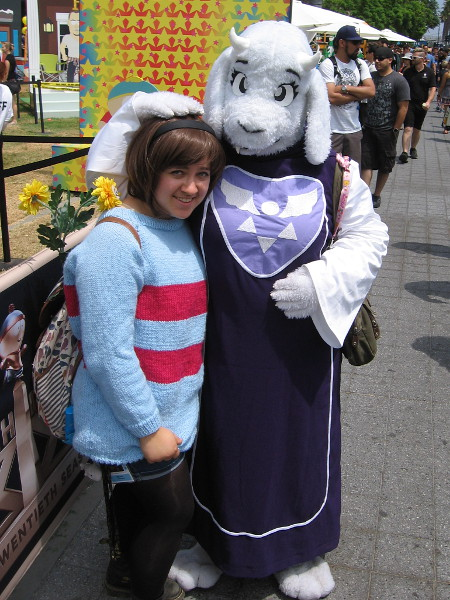 These nice ladies were cosplaying Toriel and Frisk from Undertale.