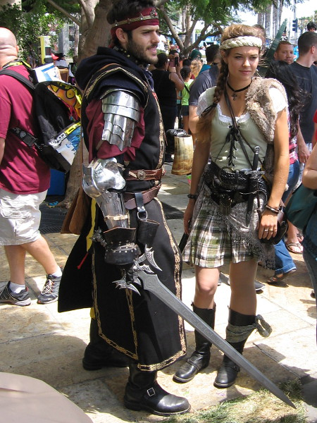 These Medieval period enthusiasts hail from the Barony of Calafia. They are members of the Society for Creative Anachronism.