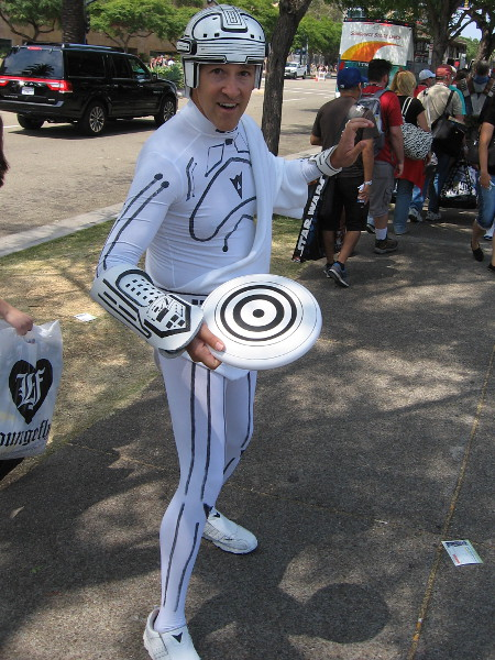 Cosplay from the original Tron. He thought the first movie was best.