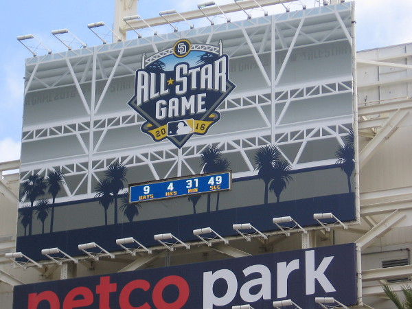 The countdown clock in back of the Padres scoreboard keeps on ticking down the seconds--now only 9 days until the Major League Baseball All-Star Game!