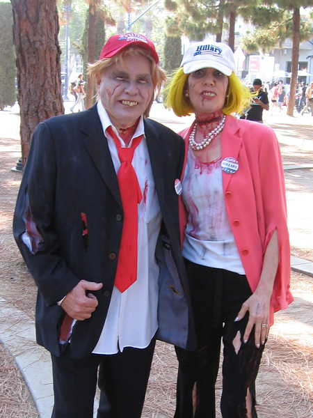 Oh, horrors! Trump and Hillary have both become zombies! I guess we're all doomed no matter what.
