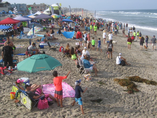 A crowd gathers on the beach in the morning, as the very popular Surf Dog Competition is almost ready to begin!