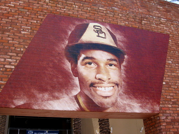 The face of Dave Winfield, a past San Diego Padres superstar, now in the Baseball Hall of Fame, greets fans on the north side of Petco Park's historic Western Metal Supply Co. building.