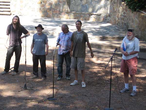 The five members of The Mightier P.E.N.S. perform poetry in Balboa Park's Zoro Garden during this summer's 2016 Garden Theatre Festival.