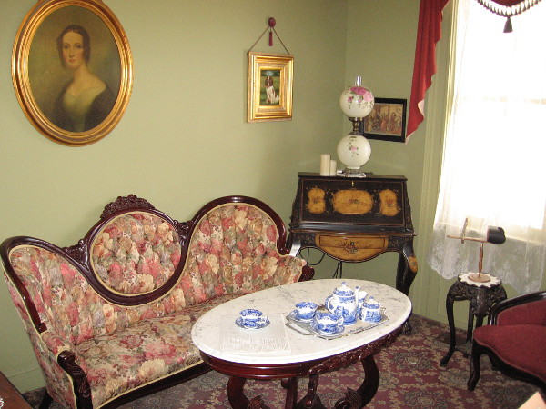 Just inside the front door, this might have resembled the parlor of the original McCoy House, occupied by an upper middle class family in San Diego's Old Town.