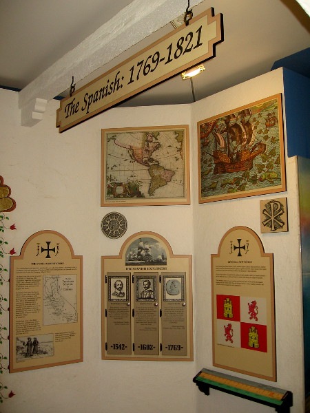 Interpretive exhibits inside the McCoy House Museum begin with the Spanish period of San Diego, from 1769 to 1821.