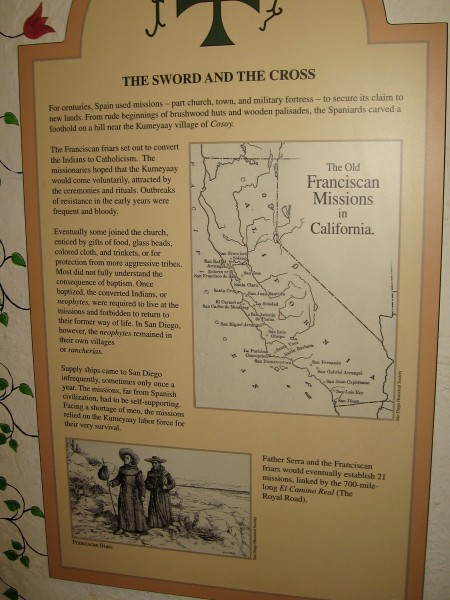 A string of missions was created by Spain in California to secure its claim to new territory. The first mission, in San Diego, was on Presidio Hill near the native Kumeyaay village of Cosoy.