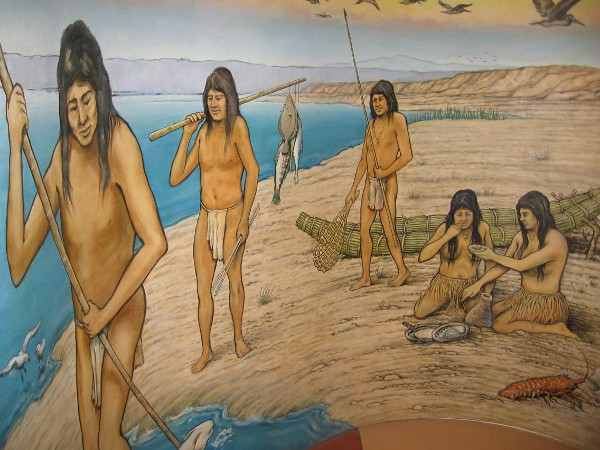 An artistic representation of life among the Kumeyaay people. They often visited the nearby coast to hunt and gather food.