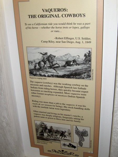 Vaqueros were the original cowboys. They worked on the extensive ranches and handled the large herds of stock.