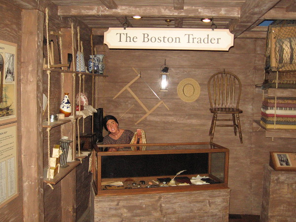 Exhibit inside the McCoy House Museum recreates the small shop of a Boston trader. The brig Pilgrim of Two Years Before the Mast brought people aboard to buy wares and finished goods that weren't available in San Diego.