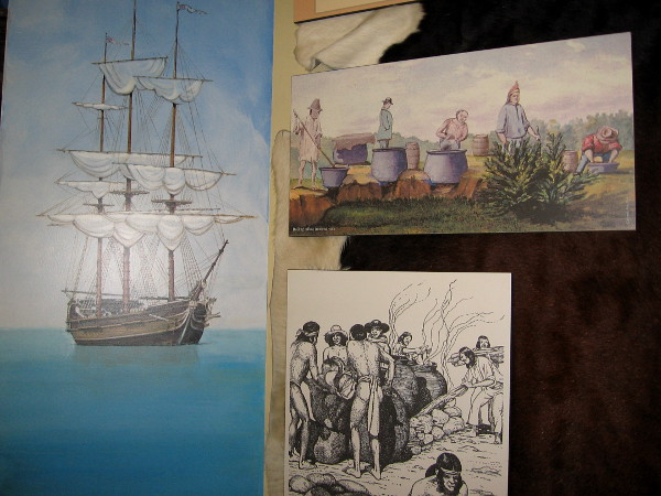 Illustrations of cow hides being cured. This activity took place at La Playa, a point on San Diego Bay near Ballast Point in Point Loma.