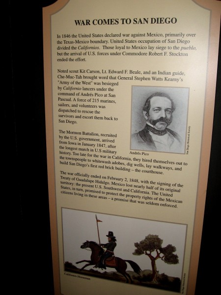 During the war, U.S. occupation of San Diego divided the loyalty of the Californios. The two sides fought briefly at the Battle of San Pasqual.