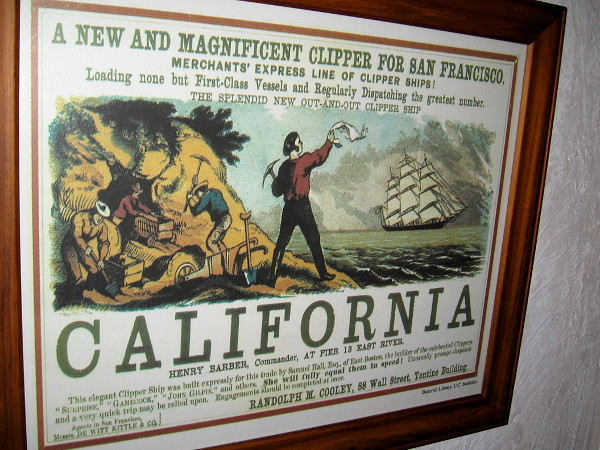 Poster advertises a new clipper ship route. A very quick trip may be relied upon!