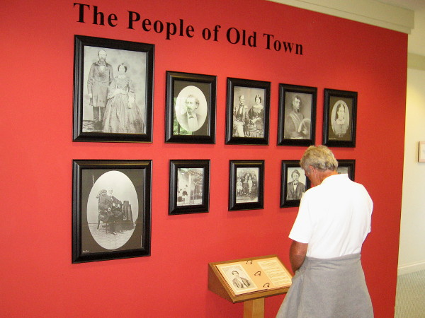 Visitor to the second floor of the McCoy House Museum learns about some notable early residents of Old Town San Diego.
