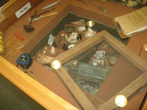 Archaeologist's tools on display in the McCoy House Museum.
