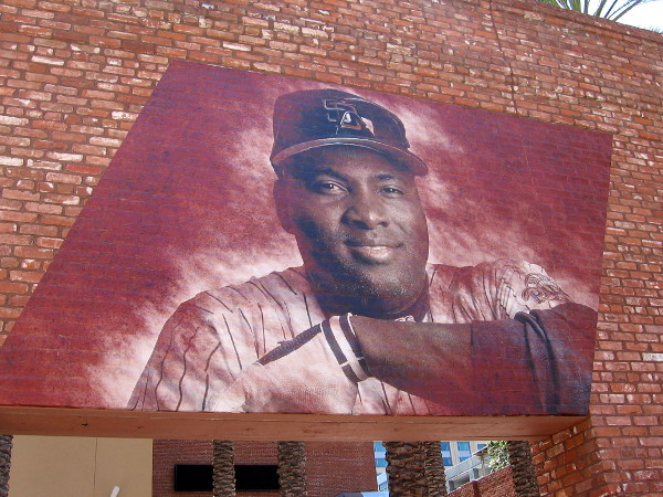 The familiar face of Tony Gwynn, Mr. Padre, on the Western Metal Supply Co. building. One of the best Major League Baseball hitters of all time.