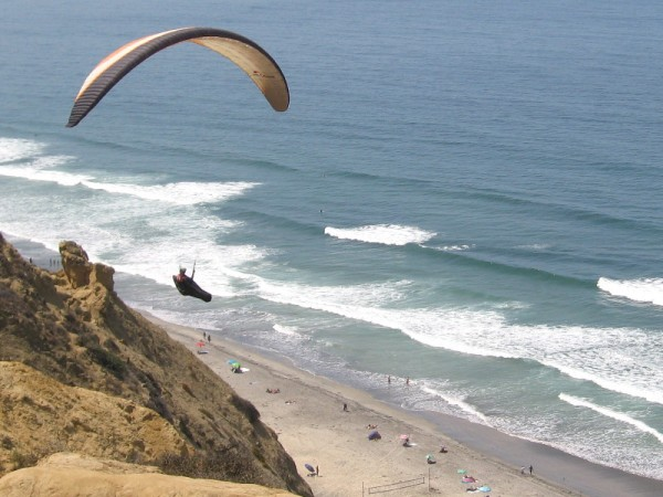 Paragliding above Black's Beach, a favorite destination for surfers and Southern California nudists!