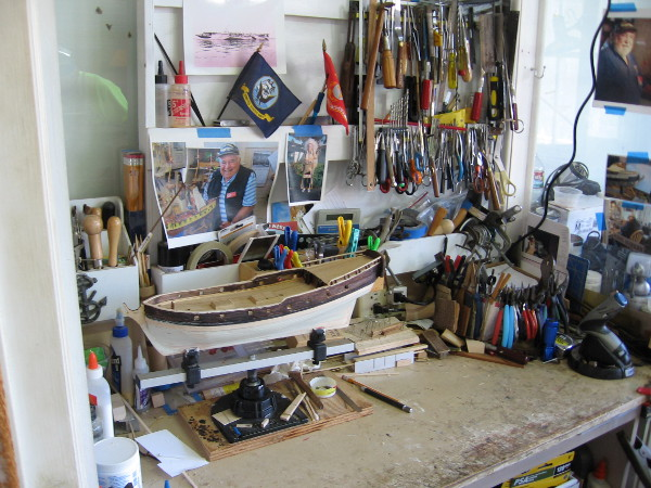 Many fine tools required in the building of model ships can be seen in the workshop.