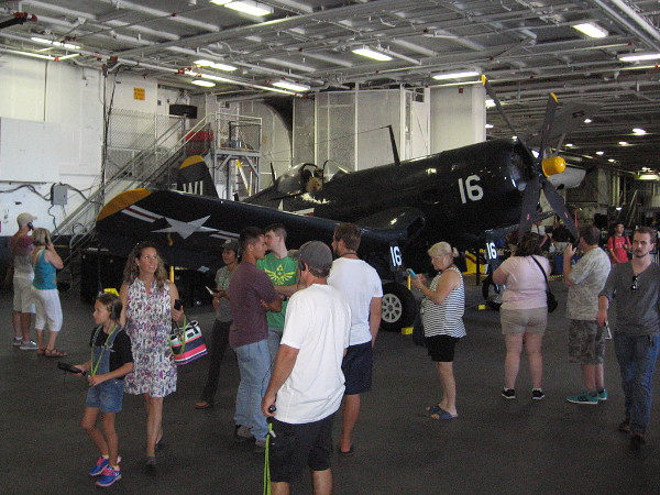 Inside the hangar deck of the USS Midway during 2016 Fleet Week. The aircraft carrier has been voted best museum ship in the United States.