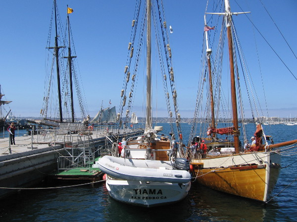 The Tiama and Cloudia were docked side by side not far from the Maritime Museum of San Diego during the 2016 Festival of Sail.