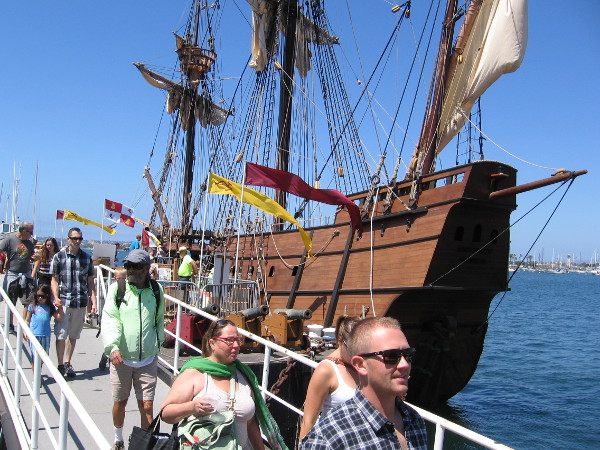 Docked behind the Maritime Museum's steam ferry Berkeley, the galleon replica San Salvador made its public debut during the 2016 Festival of Sail.