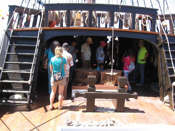 Once aboard the San Salvador, we were permitted to explore the main deck and enclosed areas at either end. It's hard to believe, but during the journey of exploration in 1542, over 100 men occupied a similarly small deck!