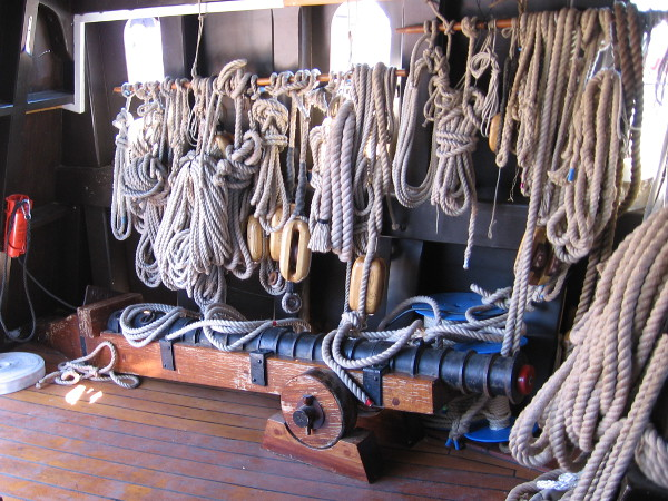 Ropes and a bombard tucked away inside the forward part of the galleon San Salvador.
